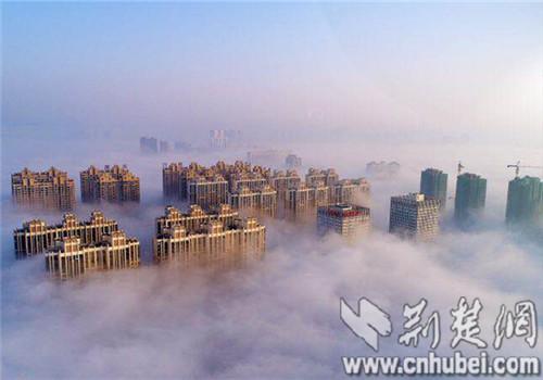 荆门现平流雾奇观